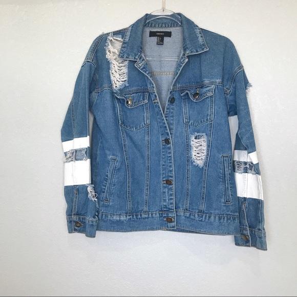 Forever 21 Jackets & Blazers - F21 destructed denim varsity style jean jacket